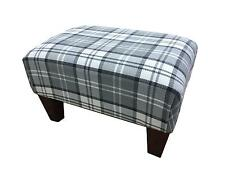 Luxury Upholstered Footstool In A Quality Slate Tartan Fabric With Mahogany Legs