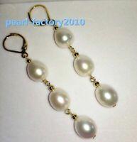 classic 12-10MM AAA  south sea white  pearl earrings 14K  GOLD