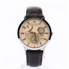 EMPORIO ARMANI Mens AR4665 Meccanico Brown Round Leather 43mm Watch 122478