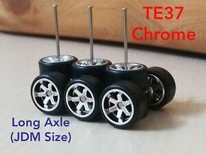 3 Sets TE 37 CUSTOM WHEELS Hot Wheels 1/64 Rubber Wheels JDM Long Chrome 10mm