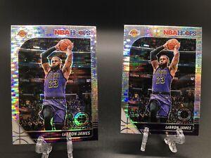Lebron James 2019-20 Panini NBA Hoops Premium Stock SILVER PULSAR PRIZM LOT (2)