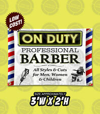 3'x2' On Duty Barber Shop Beauty Salon Open Sign Banner Pole clipper chair vinyl