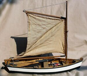 Vintage Model Wooden Sailboat Complete with Oars,Life Ring,Crab Pot,Anchor etc.