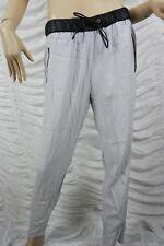 WITCHERY grey black PVC trim casual pants slacks size 12 BNWT