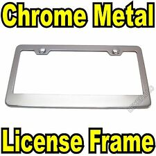 1PC CHROME STAINLESS STEEL METAL LICENSE PLATE FRAME + SCREW CAPS TAG COVER/CF e