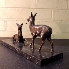 More details for art deco 1930s spelter deer group marble base