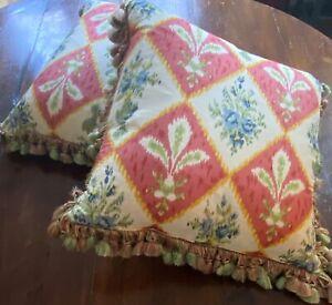 Pr High End Decorator Custom Silk Pillows Fleur de Lis & Silk Tassel Trim  WW657