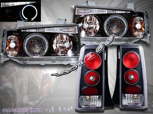 2004-2006 SCION XB PROJECTOR HEADLIGHTS HALO LED BLACK + TAIL LIGHTS BLACK
