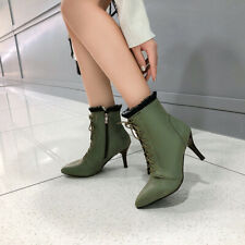 Women's Stylish Pointed Toes Lace Up High Heels Ankle Boots Shoes PU Soft