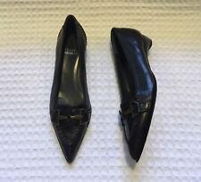 STUART WEITZMAN Pointed Toe Horsebit Ballet Flats Kitten Heels $455 Black 4 M