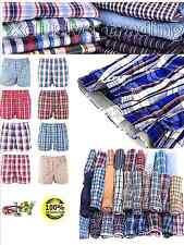 Boxers Mens Woven Check Print Poly Cotton Boxer Shorts Underwear Plain Trunks