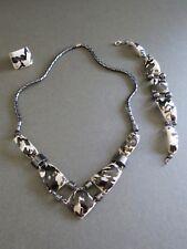 Hematite Shell Necklace Bracelet Ring Set