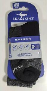 SealSkinz Unisex Sealskinz Solo Quickdry Mid Length Socks Black Grey Sports