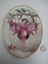 ROYAL WORCESTER OVAL FLOWER FAIRY PLATE CICELY MARY BARKER PRETTY PINK FUCHIA