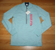 NWT Womens Lady Hathaway Heathered Aqua Blue 1/4 Zip Sweater Jacket Small S