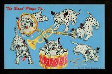 Dog postcard Dalmation playing instruments Band drum 1959 Chester Enterprises