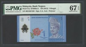 Malaysia One Ringgit ND(2012) P51a Uncirculated Graded 67