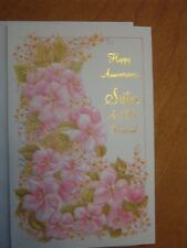 Anniversary Card--Sister and Her Husband, Gold Embossing  Same Day Shipping