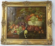 Still Life Fruit Tuche Style Oil Painting On Canvas Vintage Repro LARGE Painting