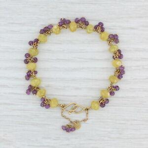 "Mallary Marks Yellow Purple Sapphire Bead Bracelet 22k 18k Yellow Gold 7"""