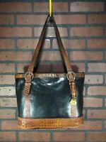 Brahmin Womens Shoulder Strap Leather Handbag Large Tote Black Brown Croc Bag