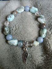 Connect with angels Bracelet larimar Angelite hemimorphite quartz Crystal healin