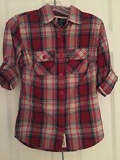 SuperDry Vintage Women's Washbasket Lumberjack Red Plaid Shirt Size MEDIUM NWT