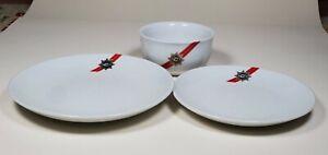 Vintage TWA Dishes - Salad & Dessert Plates, Bowl, Red Stripe, Trans World Air