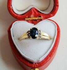 SAPPHIRE AND DIAMOND LADIES RING, 14k GOLD CONTEMPORARY ESTATE SALE LOVELY 5.25