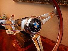 "BMW E9 3.0 CS - 3.0 CSI Wood Steering Wheel 15.3"" Large BMW Horn Button NEW"