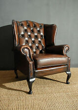 Leather Queen Anne Style Armchairs