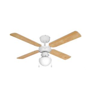 "Modern Ceiling Fan White with Light & Beech/White Reversible Blades 42"" 3 Speed"