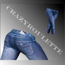 Sexy Leggings Damen Jeans Optik Blau Jeggings Capri Hose Hüft 34/36