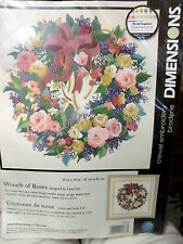 """Dimensions Crewel Embroidery Kit Wreath Of Roses 16"""" x 16"""" #1537"""