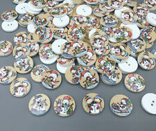100X Christmas snowman Wooden Buttons Sewing scrapbooking decoration crafts 20mm