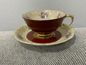 Vintage SGK China Porcelain Cup & Saucer w/ Floral Dec. Made in Occupied Japan