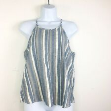 Paper Crane Womens Top Sz L Blue Beige Casual Sleeveless Summer Linen S58