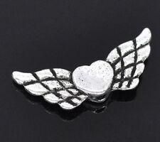 50 Antiksilber Herz & Flügel Schutzengel Spacer Metallperlen Beads 22x9mm JO