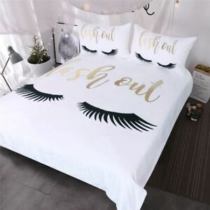 Eyelash Bedding Queen Gold&Black Cute Eyes Pattern Quilt Cover Set 3 For Girls
