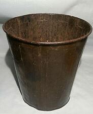 Vintage F.H. Lawson Steel Trash Can Early Model Dark Brown Industrial Steampunk
