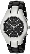 Men's Round Analog Stainless Steel Chronograph Black Plated Bracelet Watch