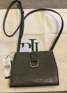 Bnwt Lauren Ralph Lauren Khaki Green Croc Leather City Xboxy Bag Medium Rrp £219