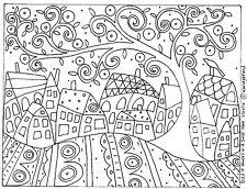 RUG HOOK CRAFT PAPER PATTERN Bird Ten Houses and a Swirl Tree FOLK ART Karla G