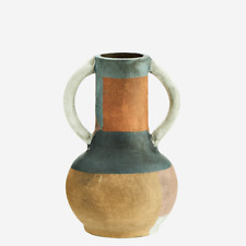 Terracotta Vase with Handles, Rustic Design Stoneware Urn Dried Faux Flowers