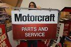 "Vintage 1970's Ford Motorcraft Parts & Service 2 Sided 38"" Metal Sign W/Bracket"