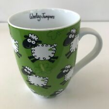 "New listing Irish Wooley Jumpers Sheep Coffee Tea Tulip Mug Cup Green White 4"" Tall 12 oz"