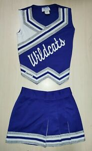 Real Youth Kids Wildcats Blue White Silver Authentic Cheerleading Cheer Uniform
