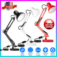Adjustable Swing Arm Desk Lamp, Table Lamp with Interchangeable Base Or Clamp