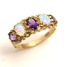Stunning Victorian Style Opal & Amethyst 9ct Gold Ring