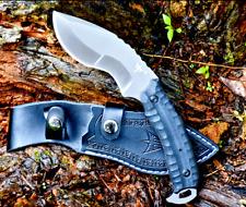"Drop Point Knife Handmade Hunting Jungle Survival Self Defense Leather Sheath 4"""